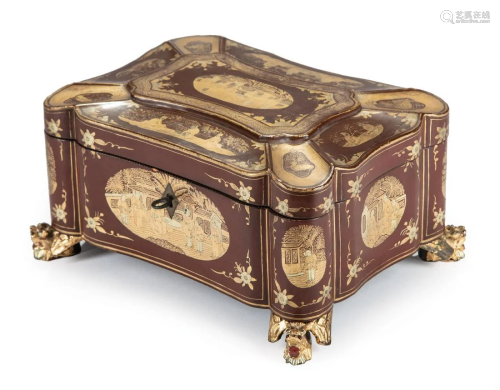 Chinese Gilt-Decorated Brown Lacquer Tea Caddy