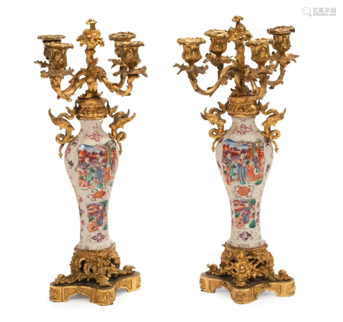Bronze-Mounted Chinese Export Porcelain Candelabra
