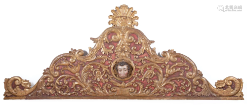 Carved Giltwood and Polychromed Alterpiece