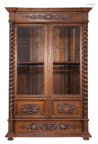 American Renaissance Carved Oak Bookcase
