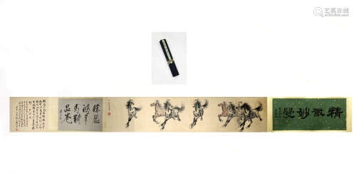 Horse picture scroll of Chinese painting and calligraphy