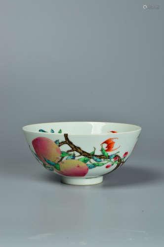 Powder enamel bowl with peach branch pattern