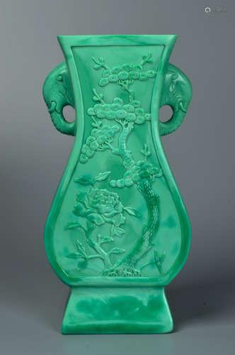 Green glaze carved elephant ear