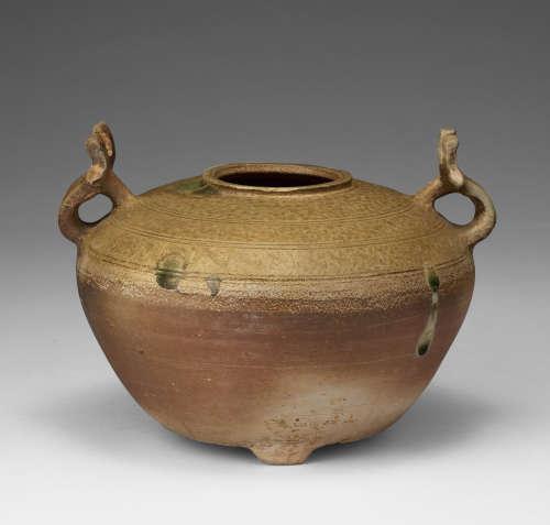 漢代  越窯青釉雙耳壺