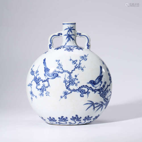 A Blue and White Plum Blossom Porcelain Double Ears Oblate Vase