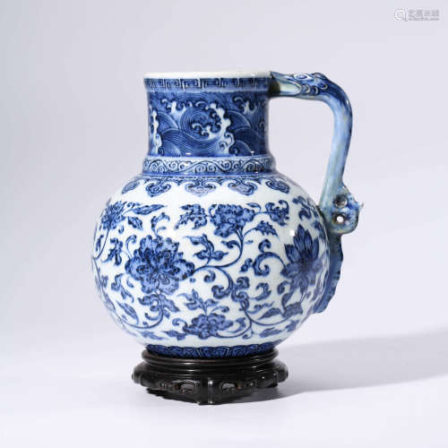 A Blue and White Floral Porcelain Dragon Ears Ewer