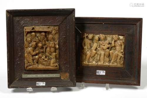 两件来自梅赫伦的白玉雕刻盘子,分别描绘了