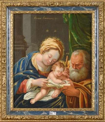 画布上的油画《圣家族》。无名氏。可能是意大利学校。时代:17世纪。尺寸:+/-37x31cm。