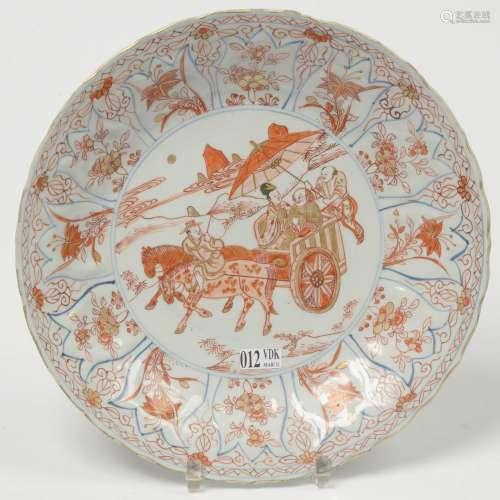 中国多色瓷圆盘,中欧红铁金蓝纹