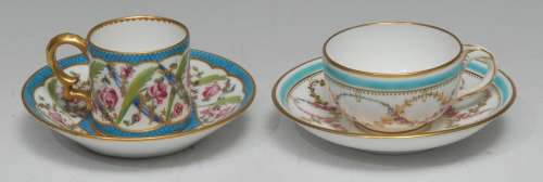 A Minton coffee can and saucer, of Sèvres inspiration, paint...