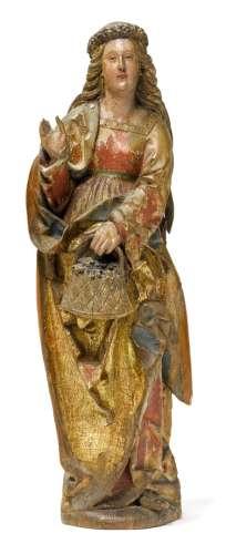 SACRED DOROTHEA OF CAPPADOCIA哥特式晚期,Franconia,约1500年。雕...