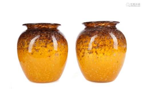 A PAIR OF MONART GLASS VASES