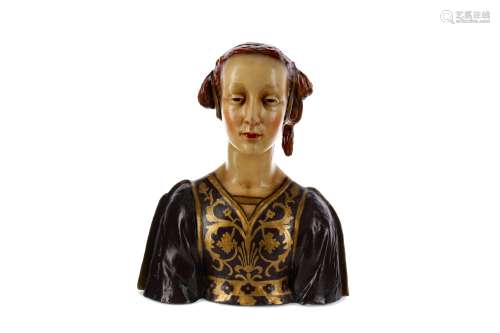 AN EARLY 20TH CENTURY ITALIAN TERRACOTTA BUST OF A LADY