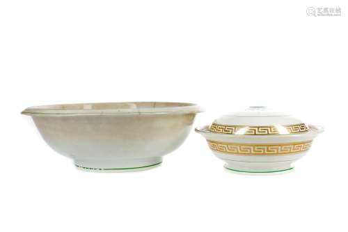 A BELLEEK FIRST PERIOD EARTHENWARE BOWL AND ANOTHER