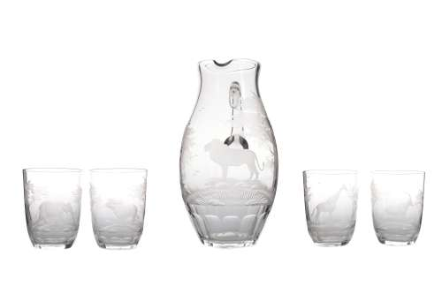A ROWLAND WARD 'SAFARI' RANGE PITCHER AND FOUR GLASS SET