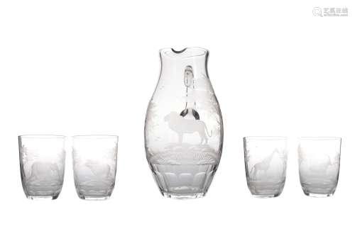 A ROWLAND WARD 'SAFARI' RANGE PITCHER AND FOUR GLASS SET