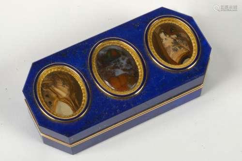 Rare tabatière en or jaune 18 carats sertie de lapis-lazuli ...