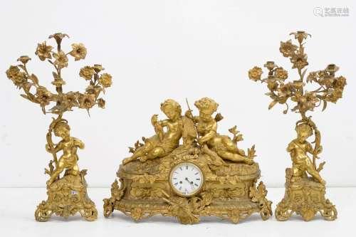 Garniture de cheminée Napoléon III trois pièces comprenant u...