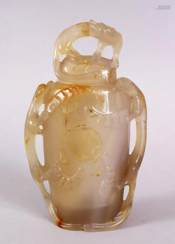 A CHINESE CARVED AGATE LIDDED CENSER / VASE, with