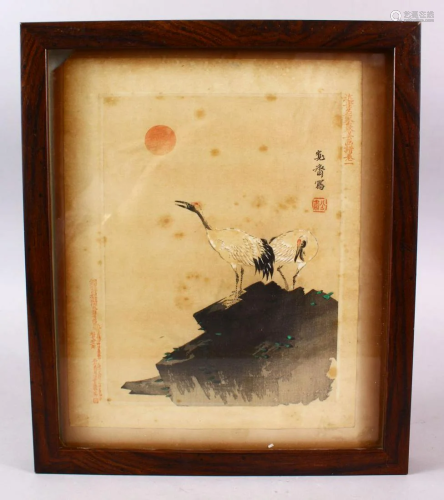 A JAPANESE MEIJI PERIOD WOODBLOCK PICTURE OF TWO