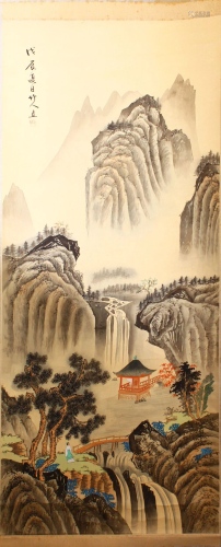 A CHINESE PAINTED SCROLL PICTURE OF A LANDSCAPE, the