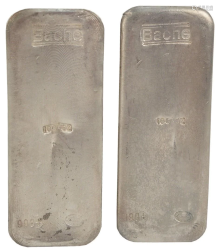 200 troy oz. Pure Silver, consisting of two 100 troy