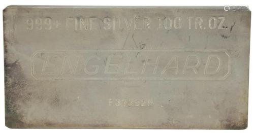100 troy oz. Engelhard Silver Bar, marked 999 fine