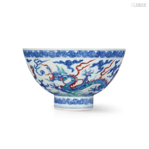 An extremely rare doucai and anhua-decorated 'dragon' bowl M...