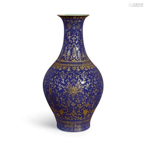 A rare blue-ground gilt-decorated 'lotus' vase, ganlanping S...