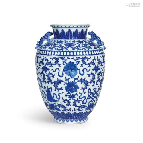 A blue and white 'bajixiang' handled jar Seal mark and perio...