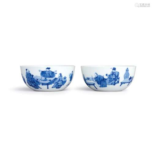 A fine and rare pair of blue and white 'Eight Drunken Immort...