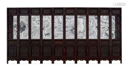A rare imperial zitan marble-mounted ten-leaf screen Qing dy...