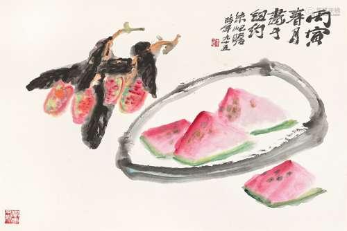 Zhu Qizhan 朱屺瞻  | Lychee and Watermelon 夏菓解暑
