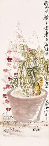 Qi Baishi 齊白石 | Cricket by the Autumn Plants 海棠秋聲