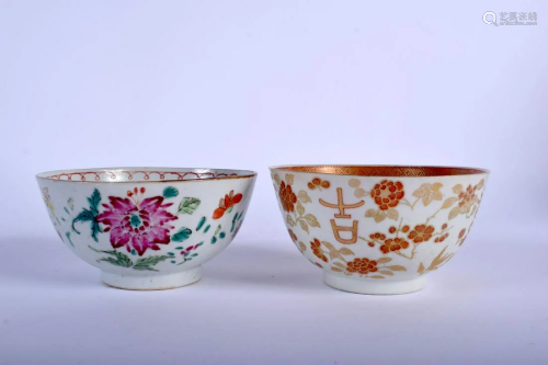 TWO 18TH CENTURY CHINESE EXPORT FAMILLE ROSE BOWLS