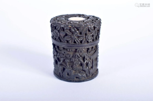 A SMALL 19TH CENTURY CHINESE CARVED TORTOISESHELL BOX