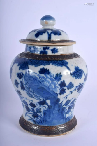 A 19TH CENTURY CHINESE BLUE AND WHITE CRACKLE GLAZED