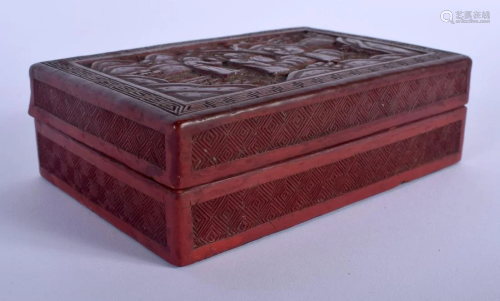A 19TH CENTURY CHINESE CARVED CINNABAR LACQUER BOX …