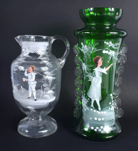 AN ANTIQUE MARY GREGORY STYLE VASE together with