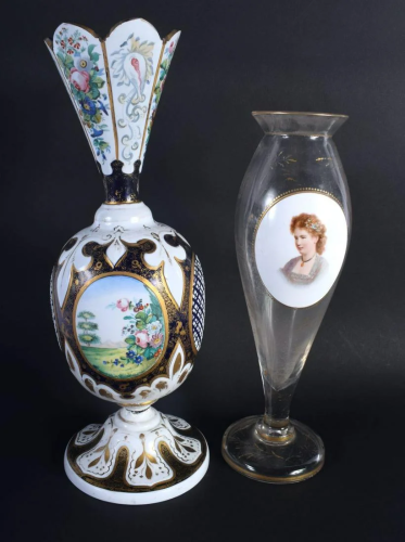 AN ANTIQUE BOHEMIAN ENAMELLED GLASS VASE together with