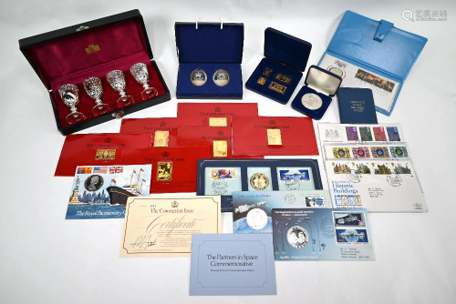 Silver and other commemorative medallions, stamps, …