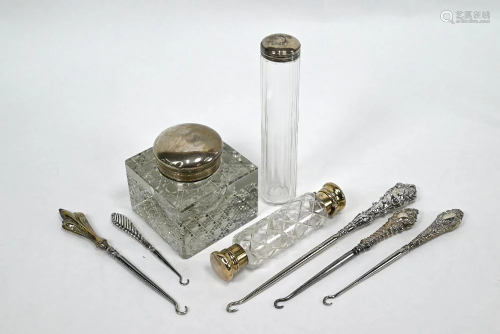 Silver-topped inkwell, toothbrush jar, scent flask and