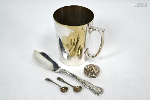 William IV Irish silver butter knife, etc.