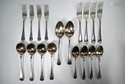 Matched part set of Old English pattern silver flatware