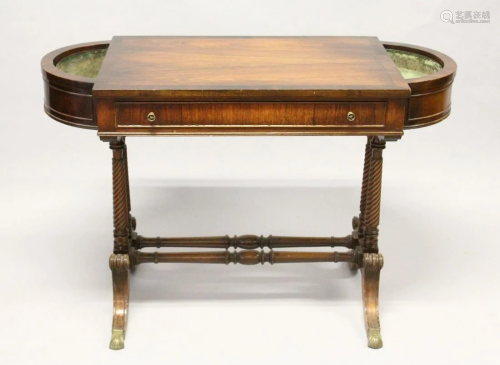 A REGENCY DESIGN MAHOGANY SIDE TABLE, with a sin…
