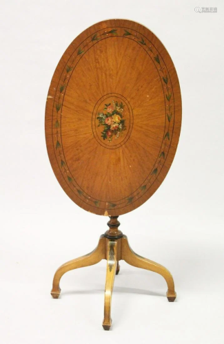 A SHERATON REVIVAL PAINTED SATINWOOD OVAL TILT TOP
