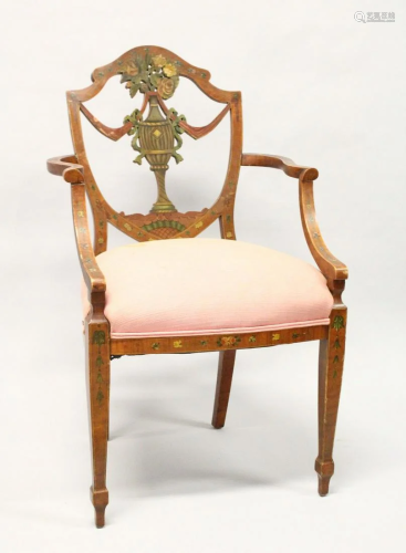 A SHERATON REVIVAL PAINTED SATINWOOD ARMCHAIR