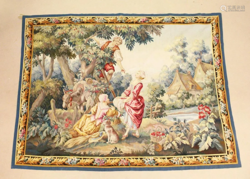 A GOOD AUBUSSON TAPESTRY WALL HANGING, depicting a