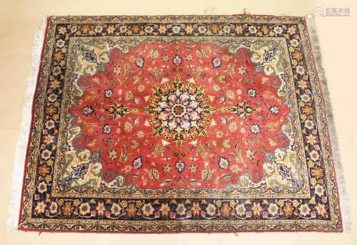 A GOOD SMALL PERSIAN CARPET, red ground with all over