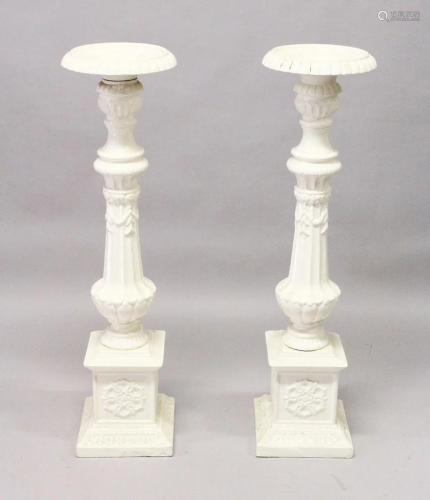A GOOD PAIR OF VICTORIAN WHITE PAINTED CAST IRON